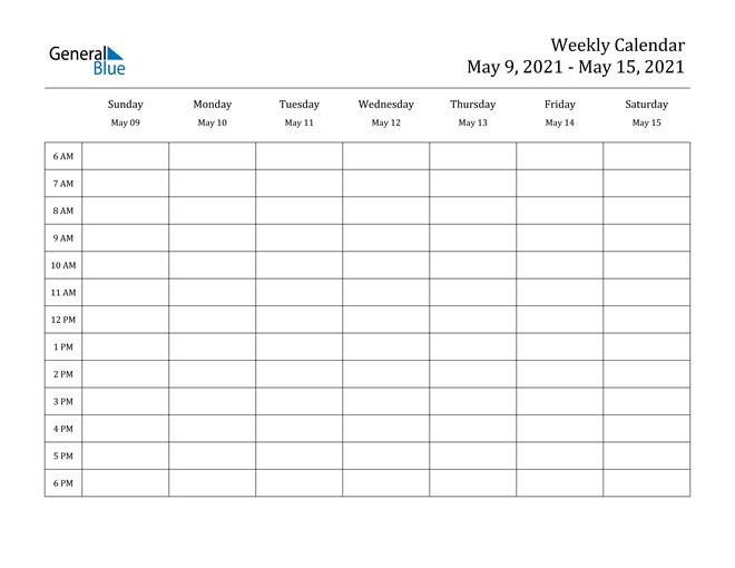Weekly Calendar - May 9, 2021 To May 15, 2021 - (Pdf, Word-Free Printable Hourly Calendar 2021