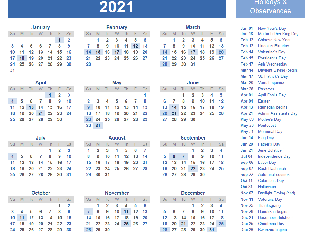 Yearly 2021 Printable Calendar Template - Pdf, Word, Excel-Excel List Of Holidays 2021