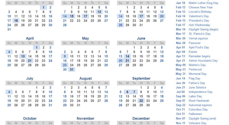 Yearly 2021 Printable Calendar Template - Pdf, Word, Excel-Printable 2021 Yearly Calendar Free Pdf