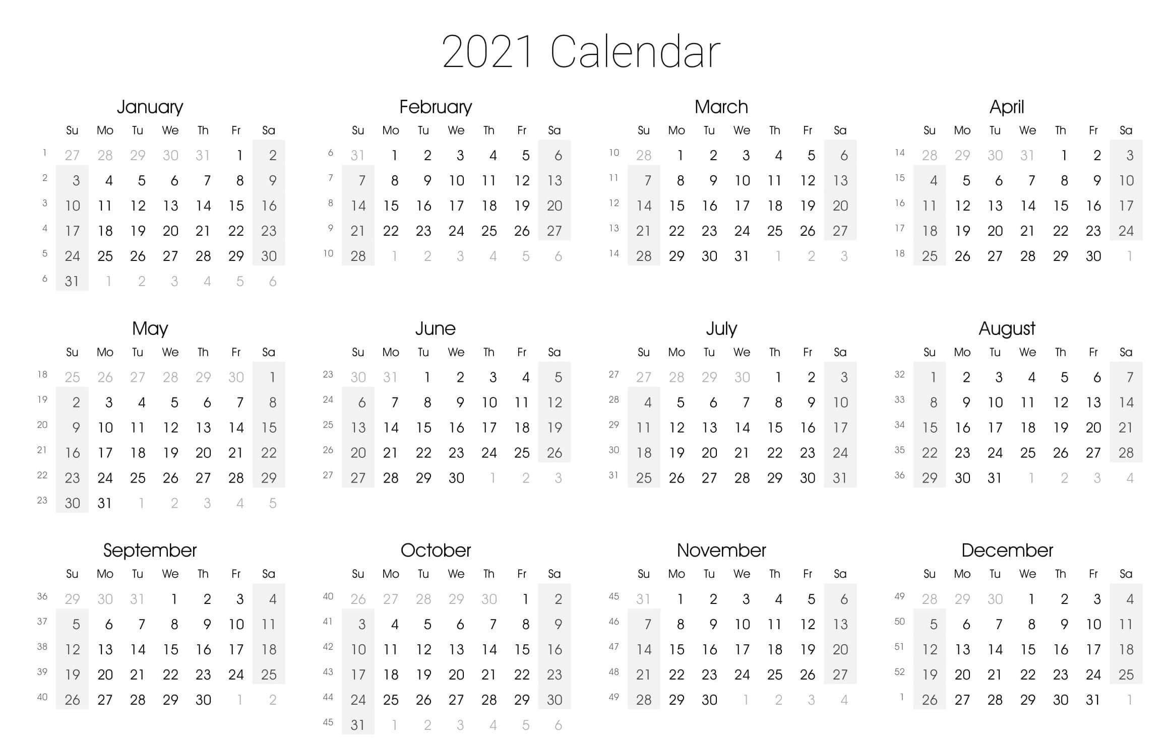 Yearly Calendar With Notes 2021 Editable Template - Set-2021 Calendar Fillable