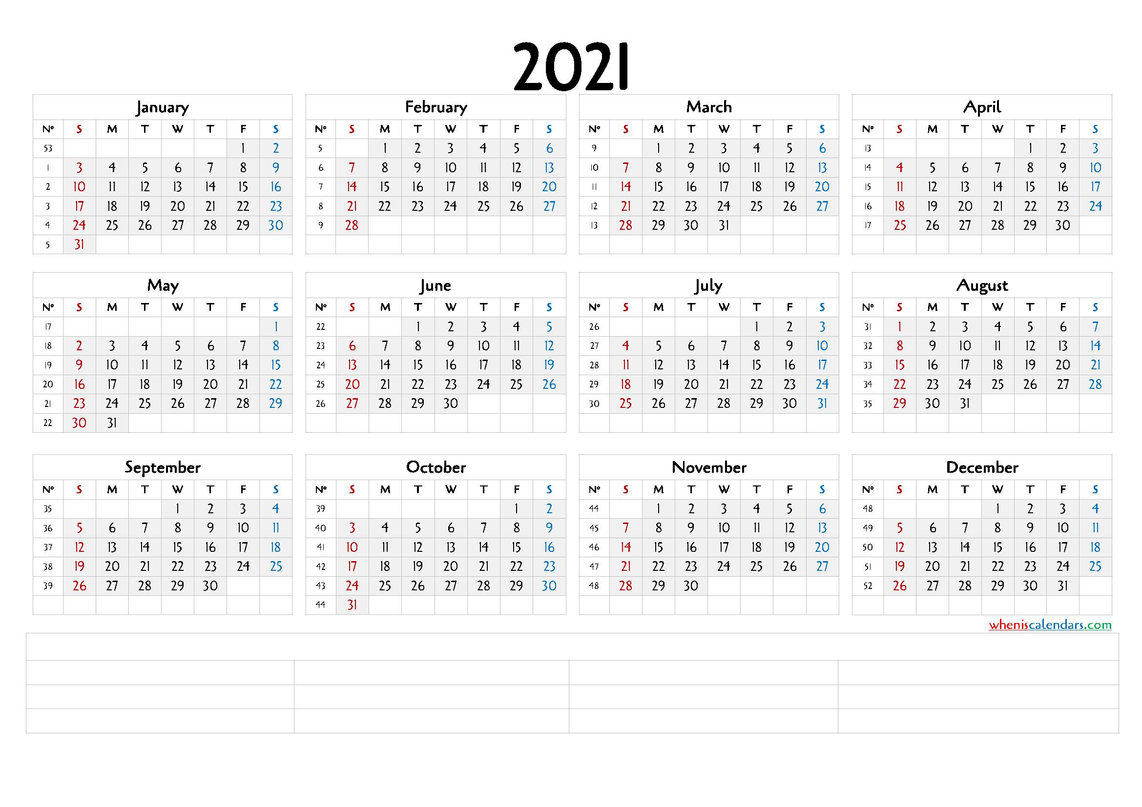 12 Month Calendar Printable 2021 (6 Templates)-2021 Free 12 Month Printable Monthly Calendar