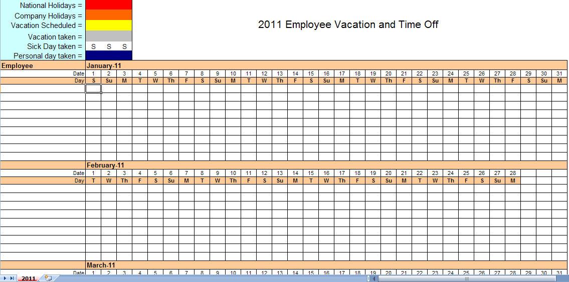 2011 Employee Vacation Calendar | Vacation Calendar-2021 Calendar For Vacation