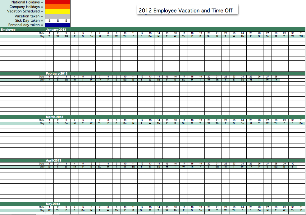 2012 Employee Vacation Time Tracking-2021 Excel Calendar Employee Leave