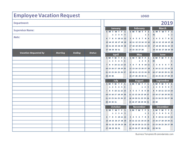 2019 Business Employee Vacation Request - Free Printable-2021 Vaction Templates