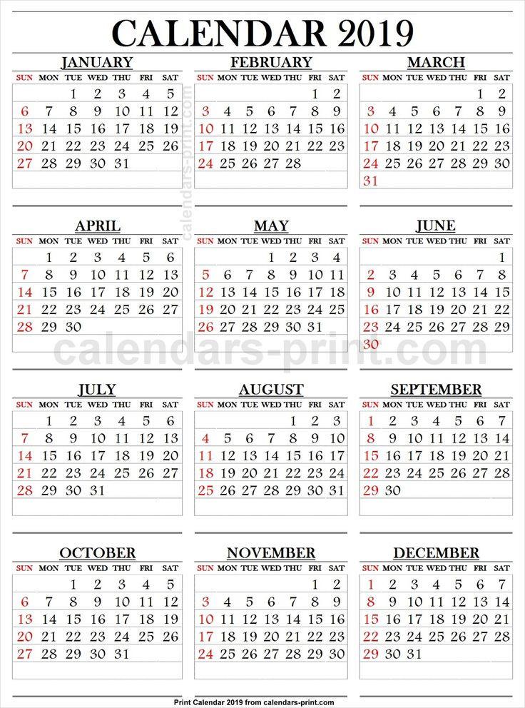 2019 Calendar Large Numbers | Calendar Template, Printable-Free Large Number Printable Calendars