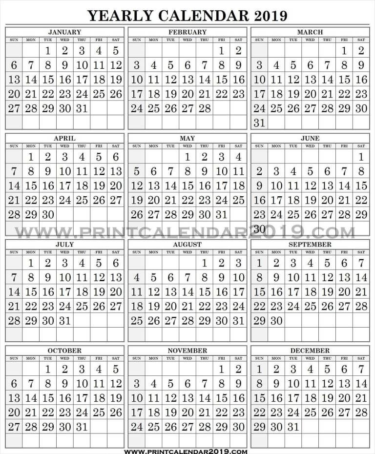 2019 Calendar With Large Numbers | 2019 Calendar, Calendar-Free Large Number Printable Calendars