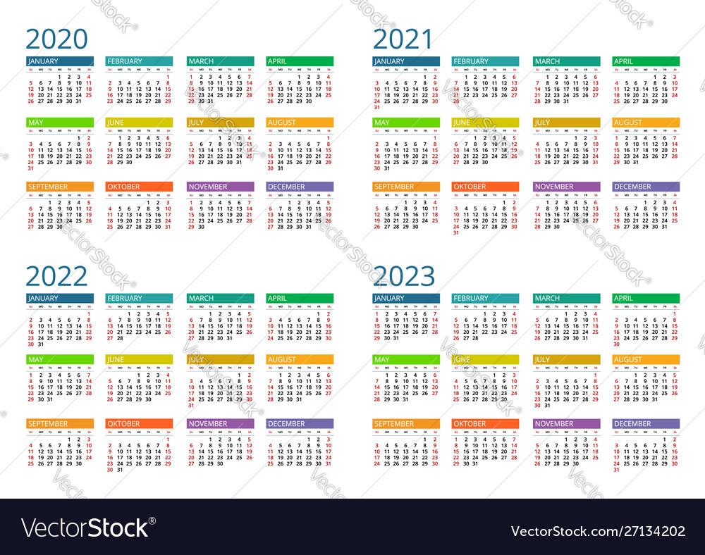 2020 2021 2022 2023 Calendar Print Template Vector Image-2021 2022 2023 Printable Calendar
