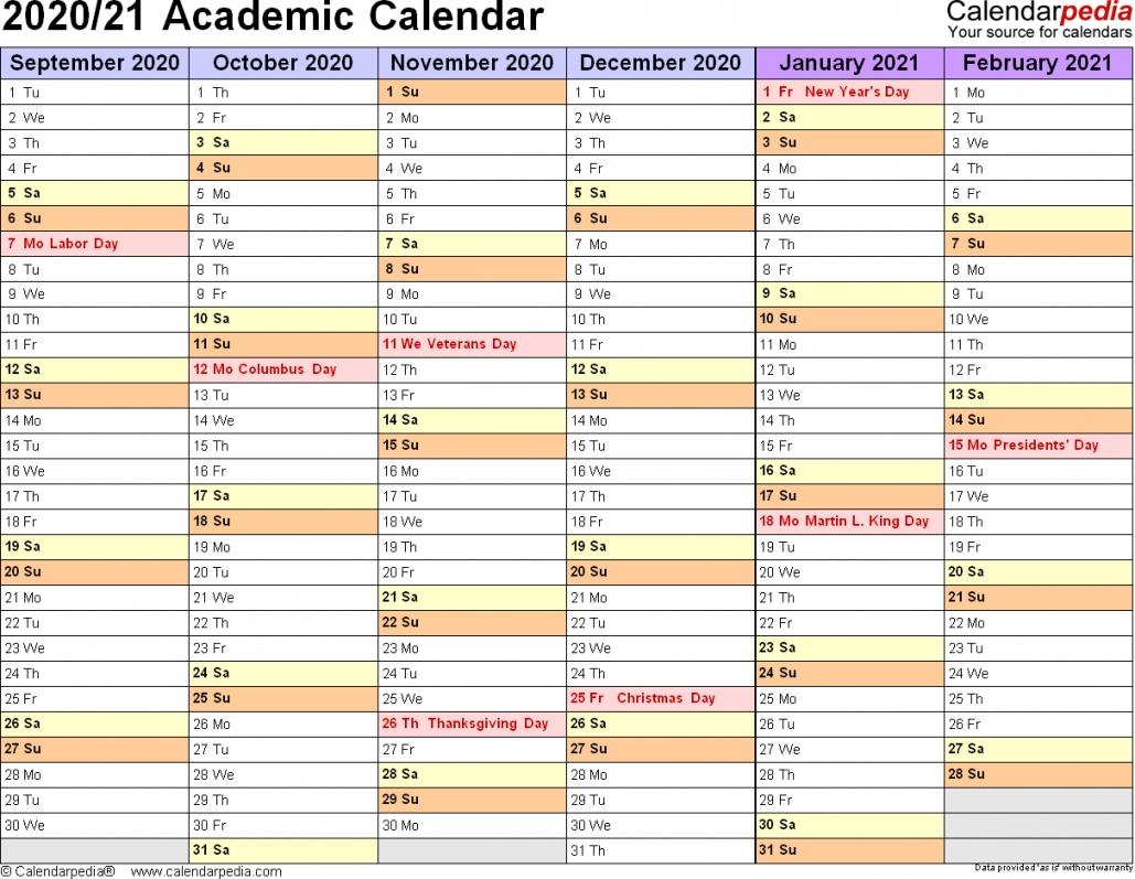 2020 2021 Academic Calendar Printable   Free Letter Templates-2021 Vacation Calendars