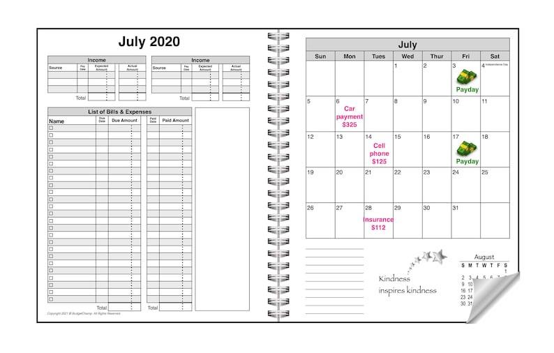 2020 2021 Budget Planner Bill Organizer Finance Book | Etsy-Bill Payment Calendar 2021