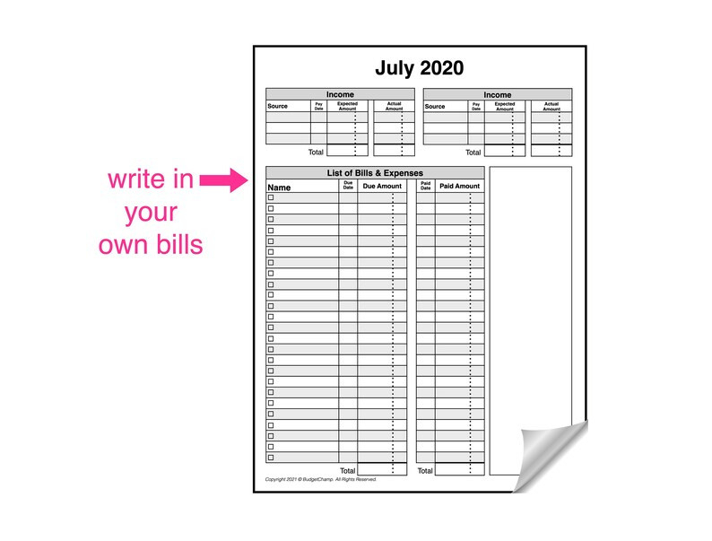 2020 2021 Budget Planner Bill Organizer Tracker Monthly | Etsy-Bill Payment Calendar 2021