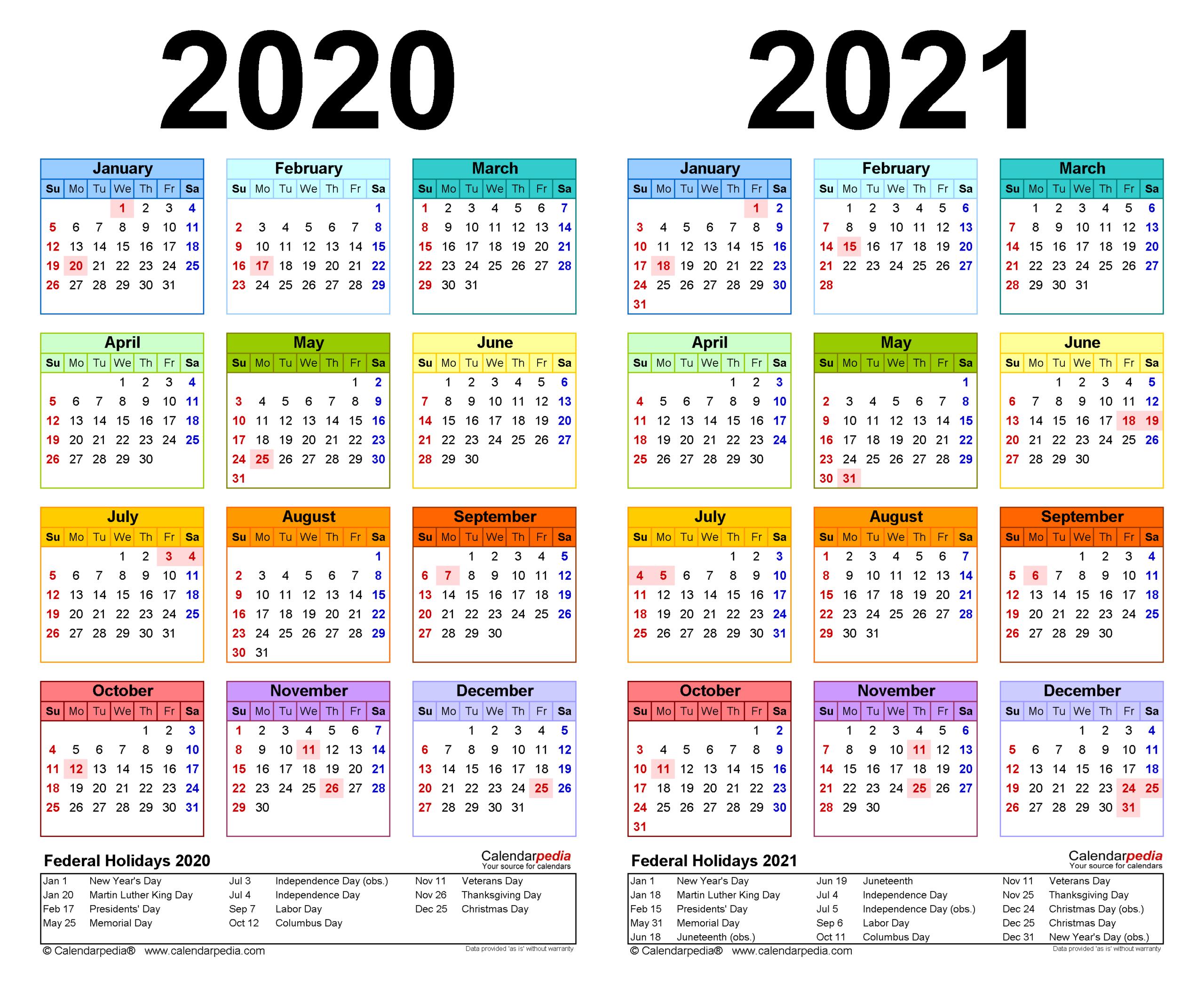 2020-2021 Two Year Calendar - Free Printable Word Templates-2 Page Printable Yearly Calendar Template 2021