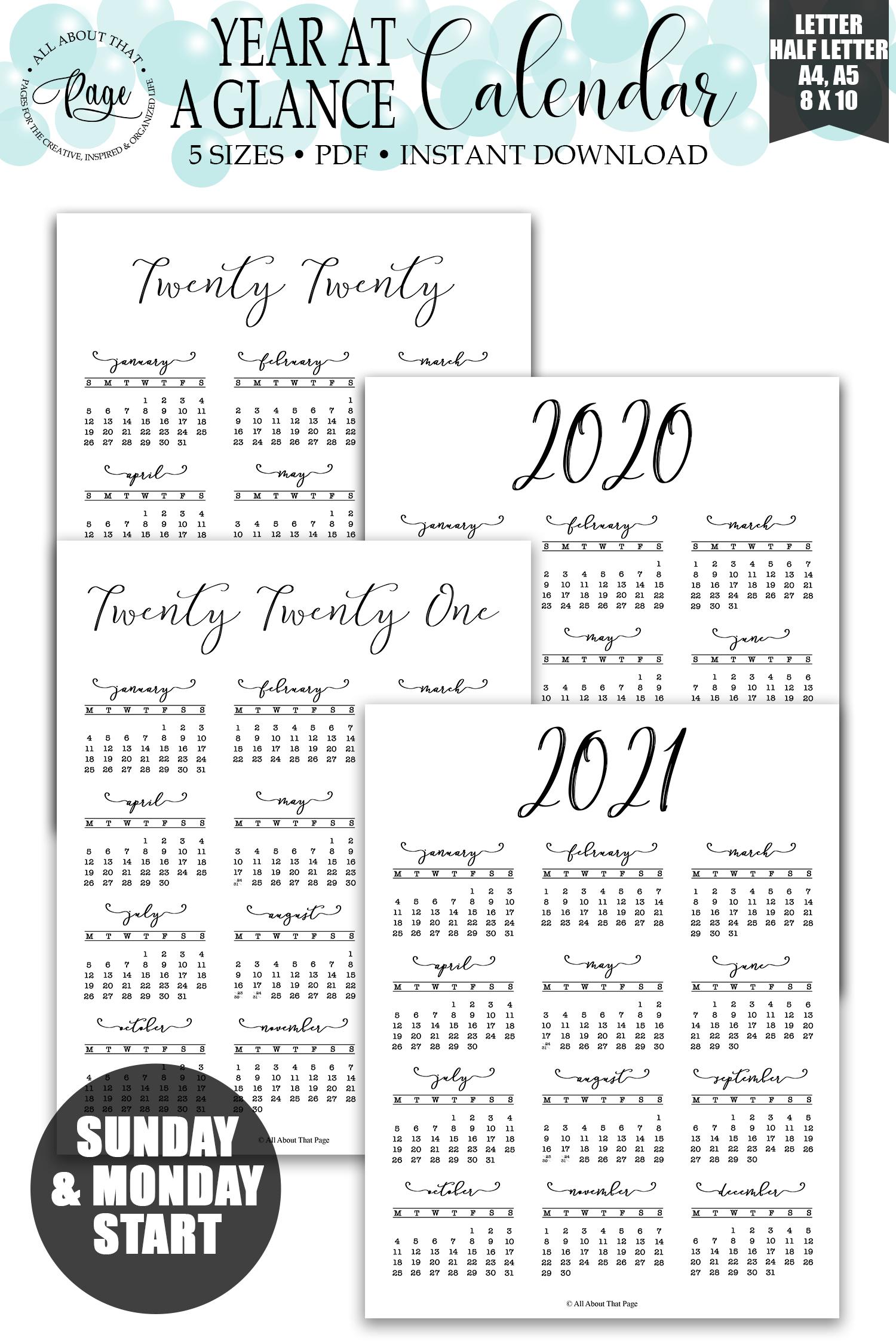 2020 2021 Year At A Glance Calendar Printable, Simple-Large Print 2021 Calendar At A Glance Printable