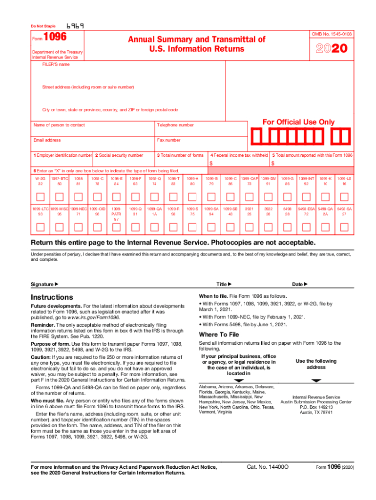 2020 Form Irs 1096 Fill Online, Printable, Fillable, Blank-Blank W9 Forms 2021 Printable Pdf