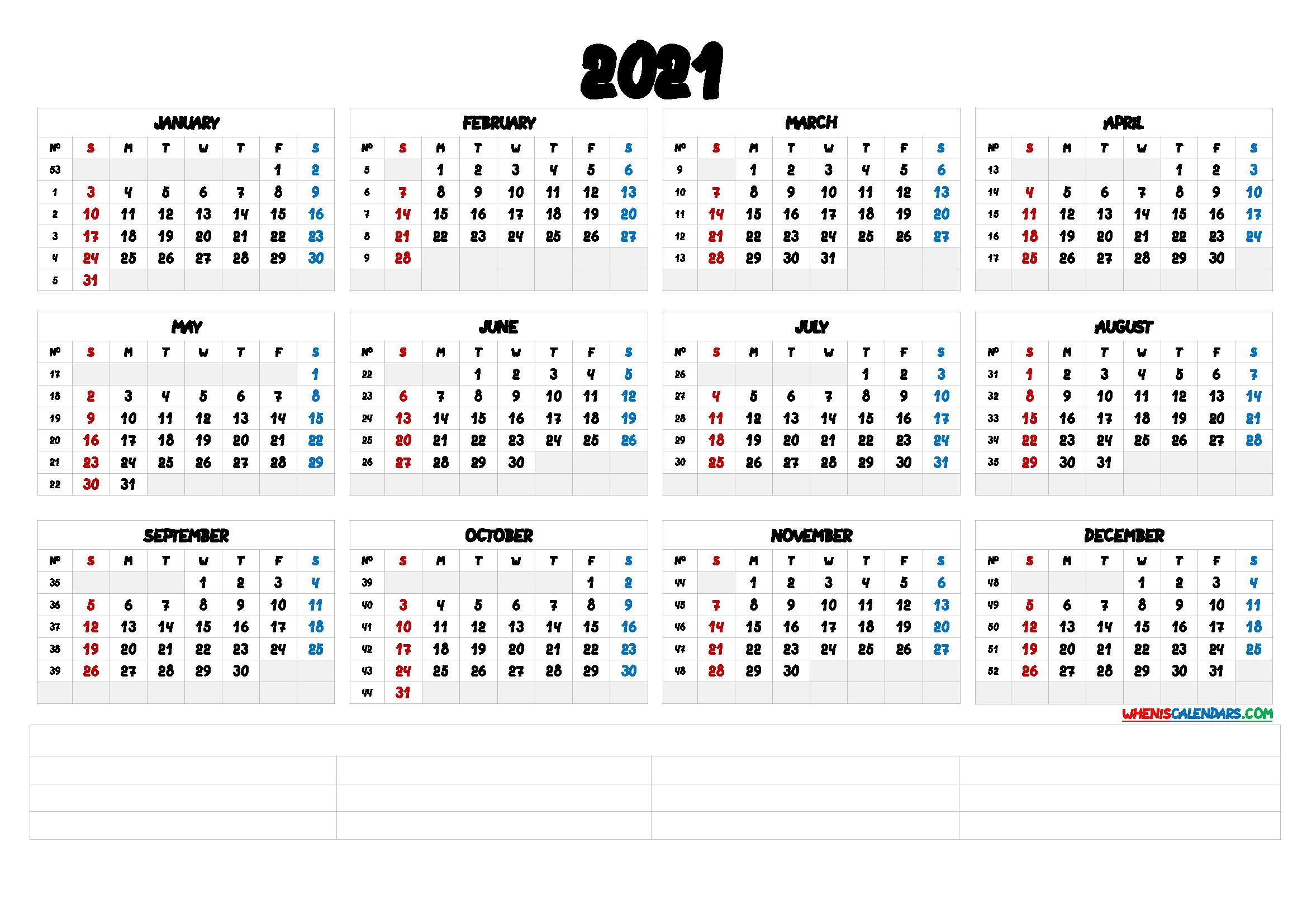 2021 12 Month Calendar Printable [Premium Templates-2021 Free 12 Month Printable Monthly Calendar