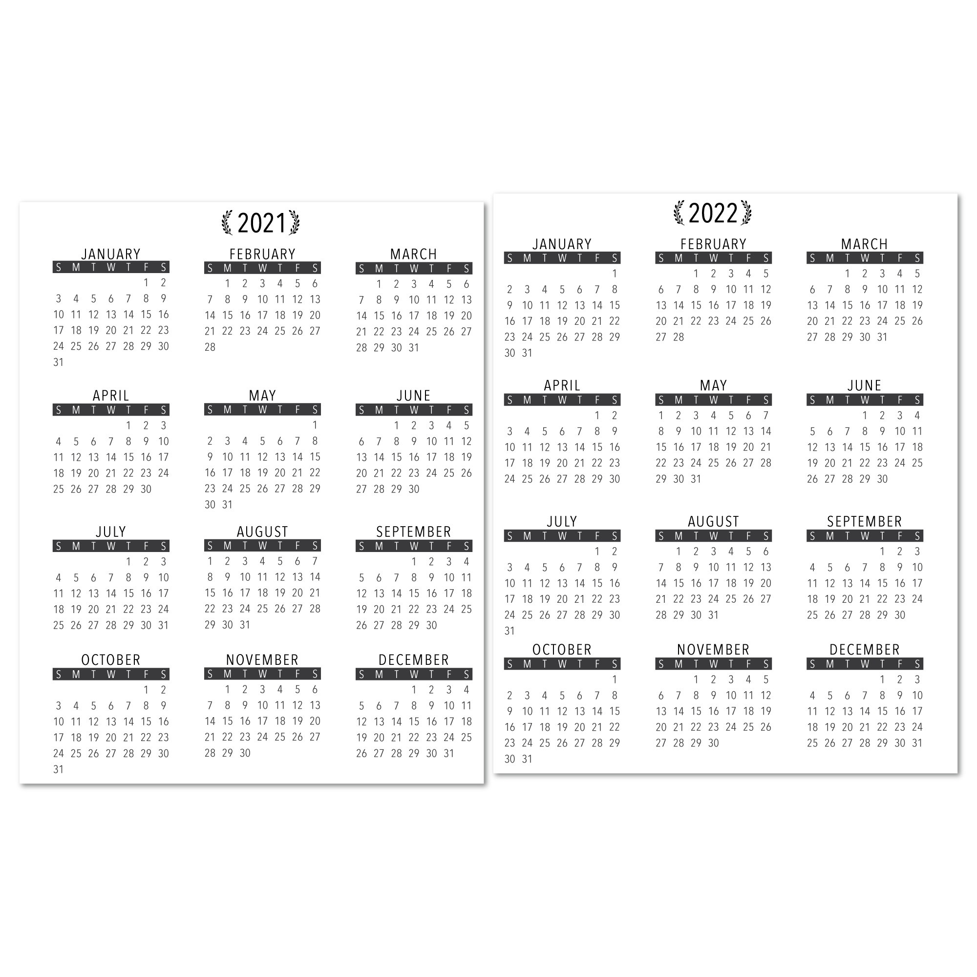 2021-2022 Year At A Glance Calendar With Lamination-Large Print 2021 Calendar At A Glance Printable
