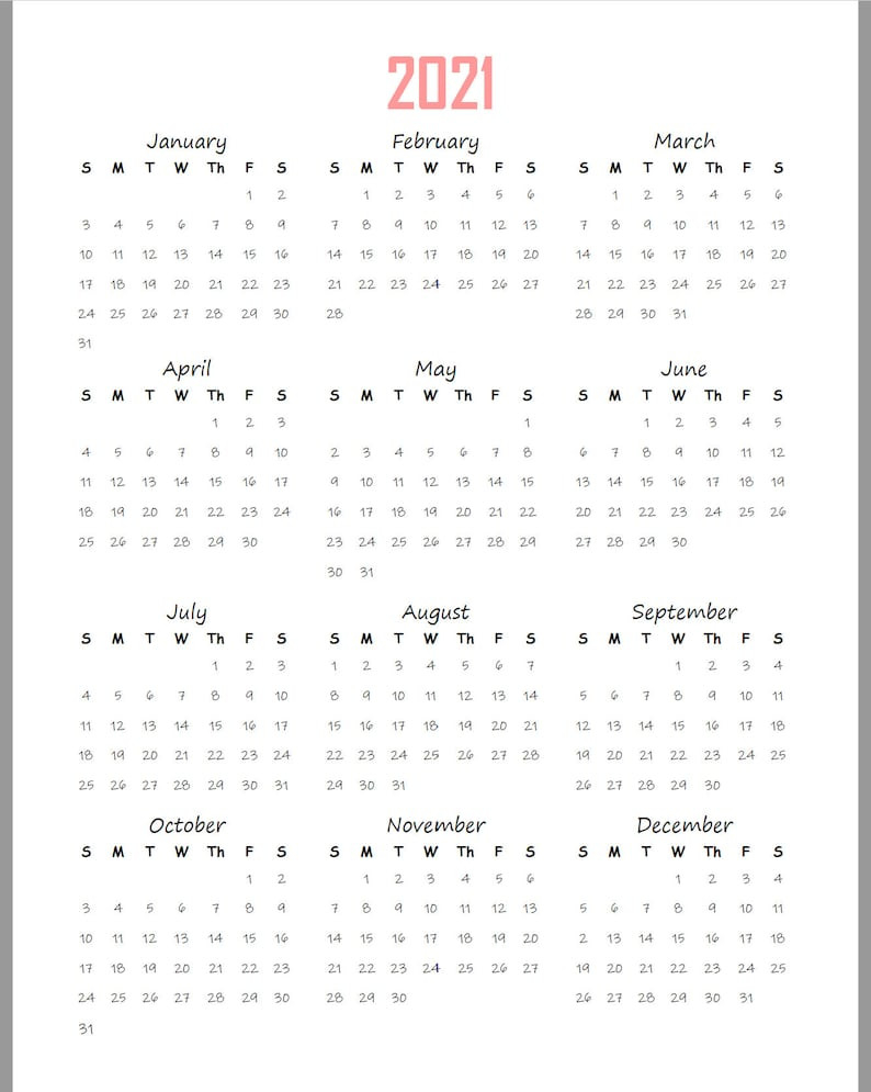 2021-2022 Yearly Calendar At A Glance Printable Planner | Etsy-Large Print 2021 Calendar At A Glance Printable
