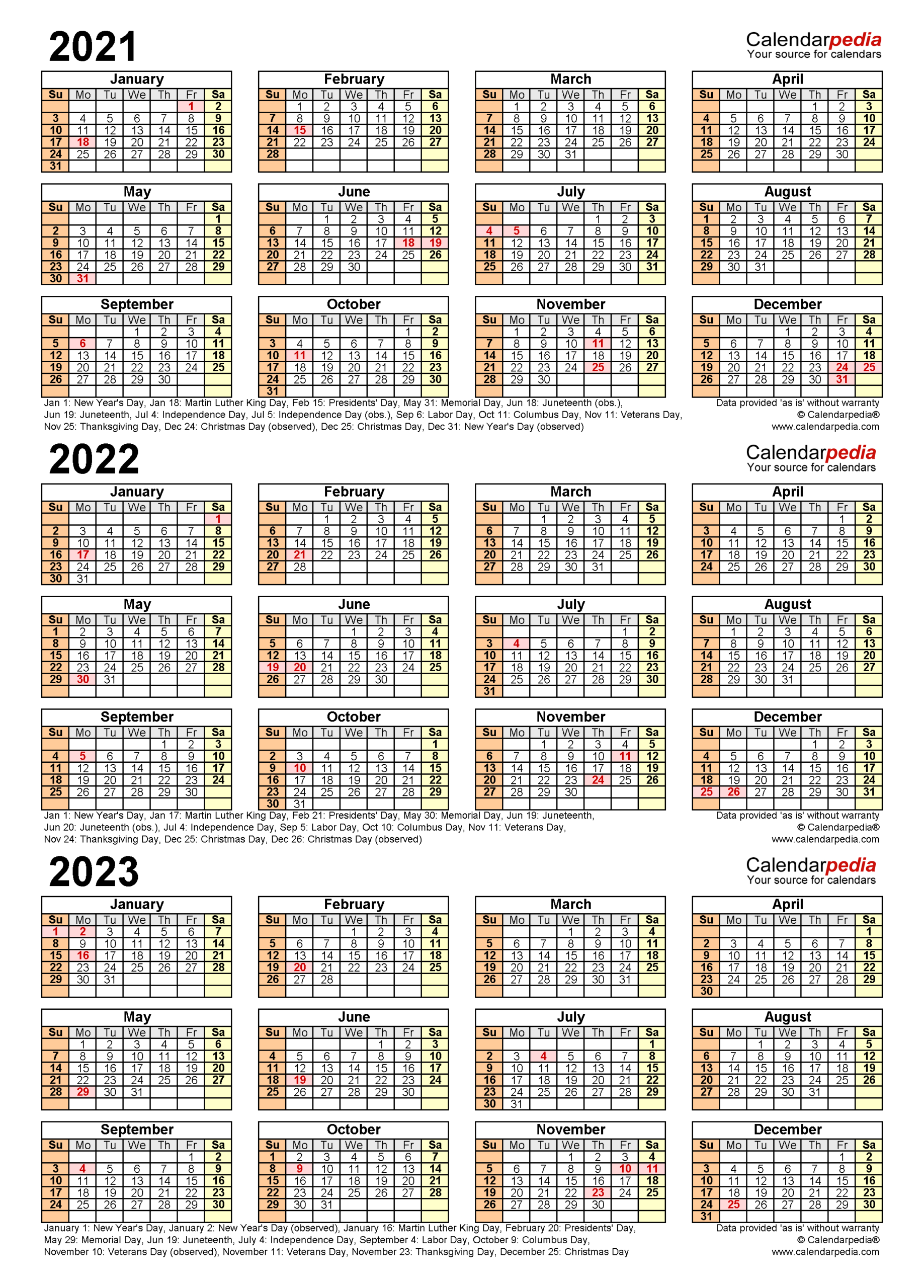 2021-2023 Three Year Calendar - Free Printable Excel Templates-2021 2022 2023 Printable Calendar