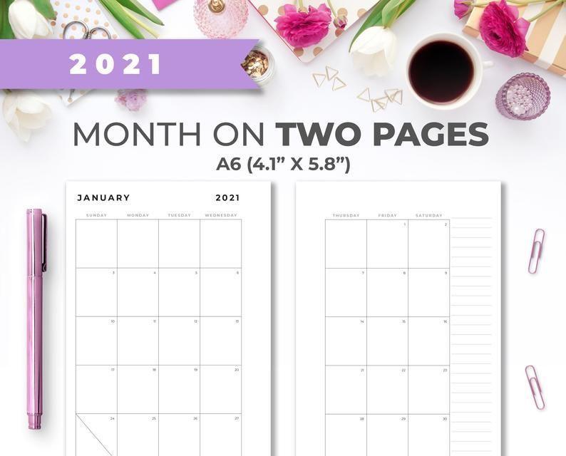 2021 A6 Minimal Printable Monthly Calendar Insert On Two-2021 Printable 2 Page Monthly Calendar