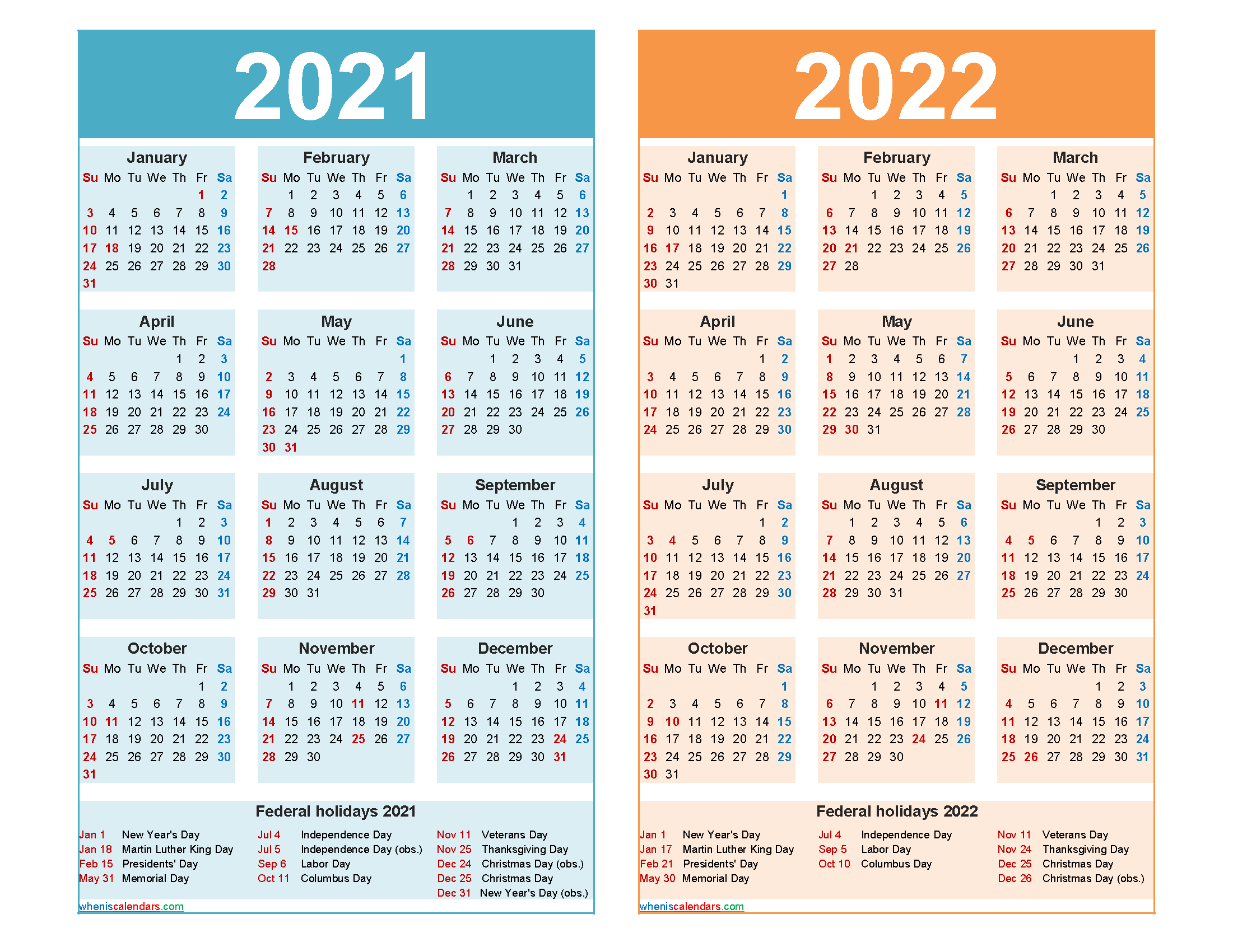 2021 And 2022 Calendar Printable Word, Pdf - Free-2021 Office Vacation Calendar Examples