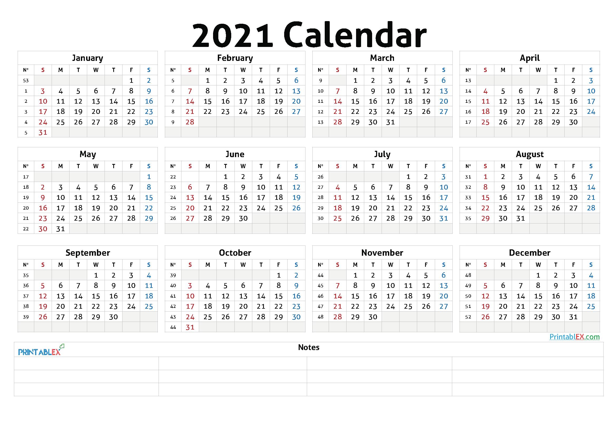 2021 Annual Calendar Printable - 21Ytw47-Calendar Template 2021 Printable Free