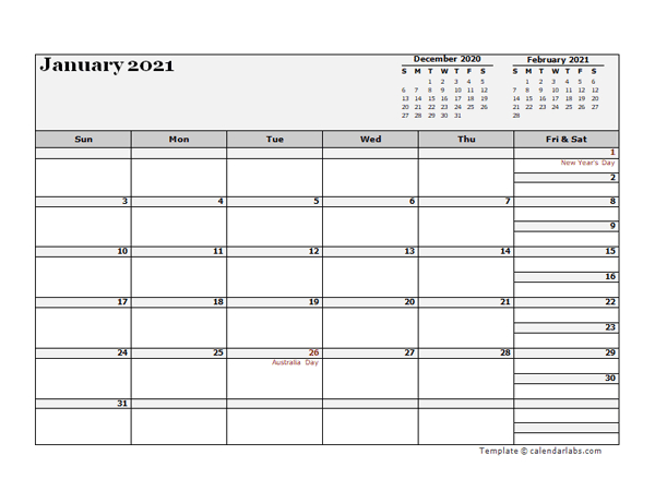 2021 Australia Calendar For Vacation Tracking - Free-2021 Vaction Templates