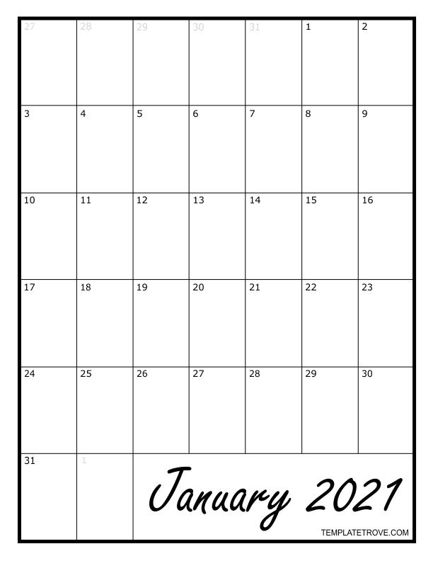 2021 Blank Monthly Calendar-Printable Calendar 2021 For Monthly Bills