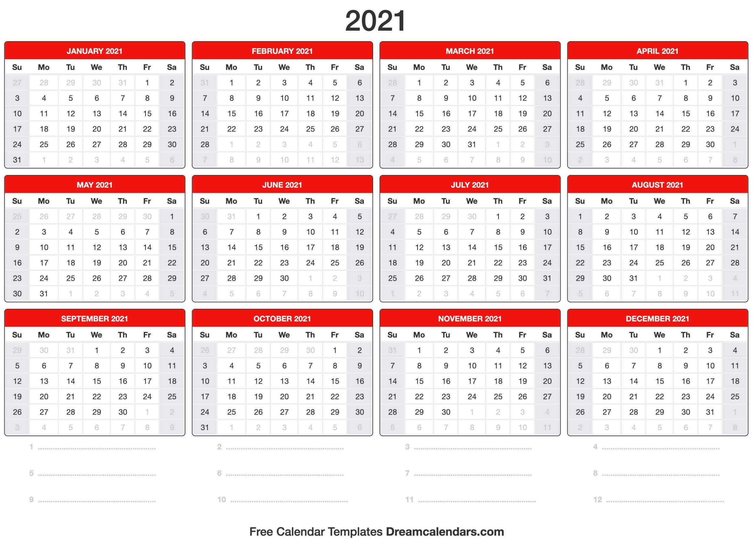 2021 Calendar-2 Page Calendar 2021