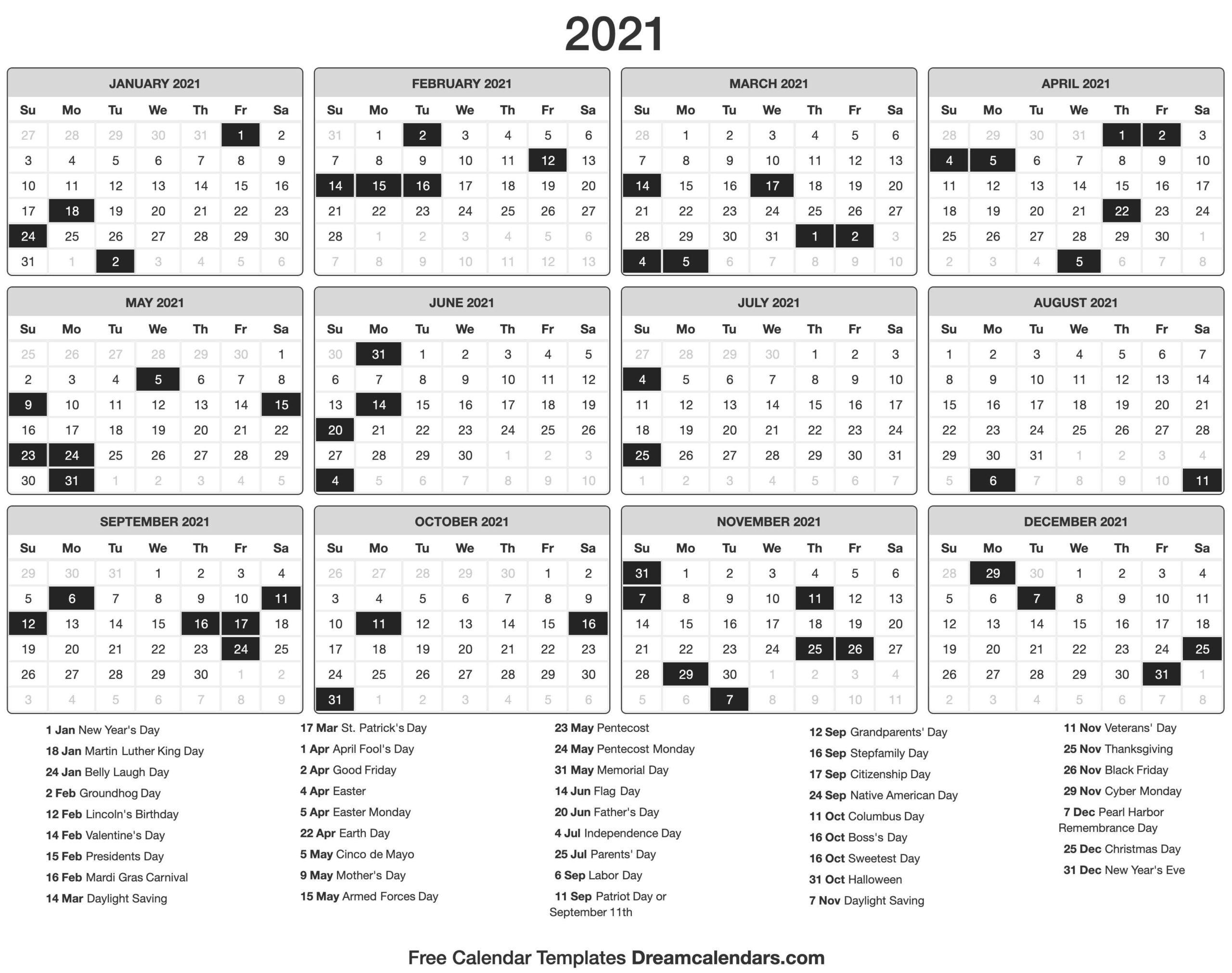 2021 Calendar-2021 Office Vacation Calendar Examples