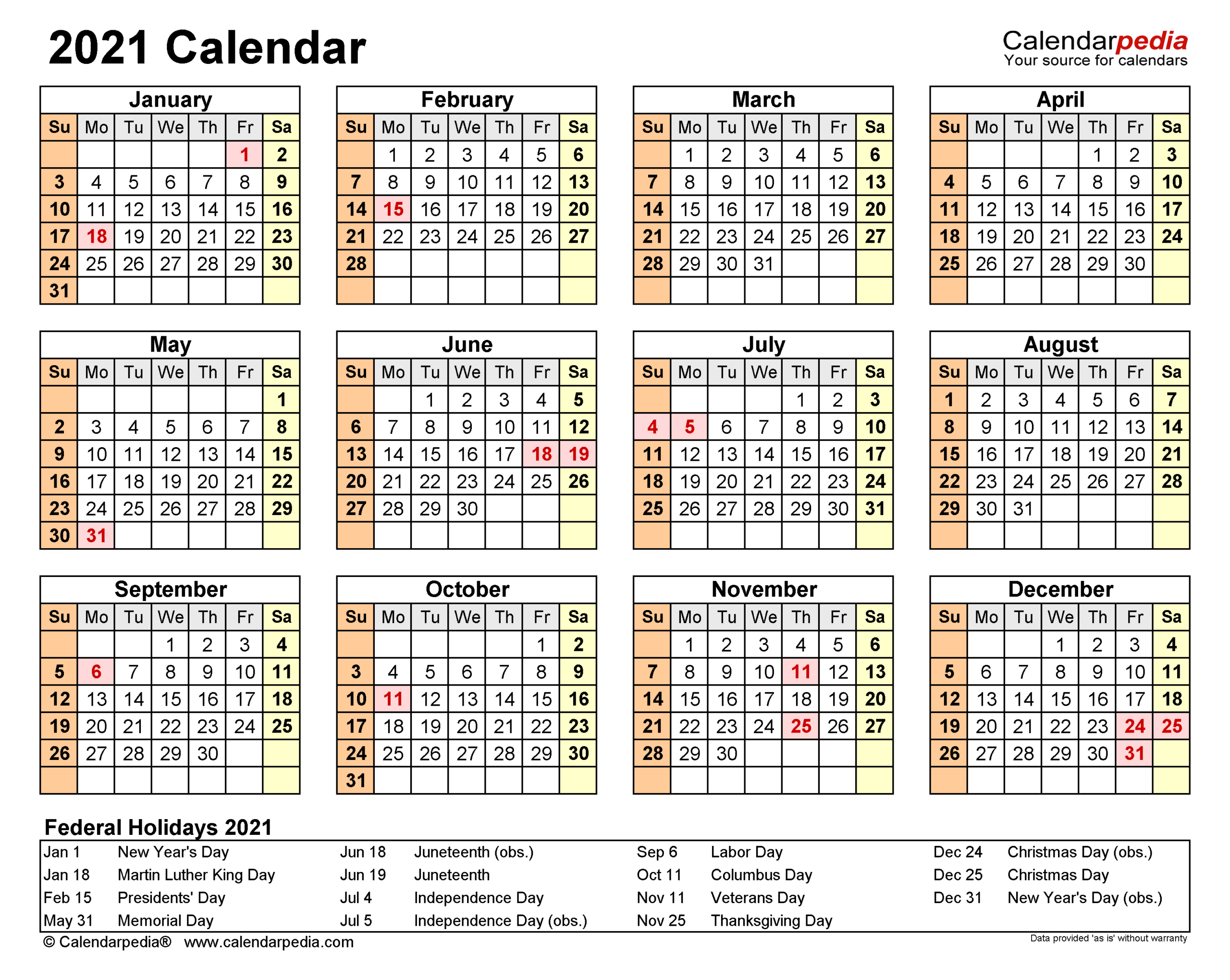 2021 Calendar - Free Printable Word Templates - Calendarpedia-Microsoft Word Calendar Template 2021