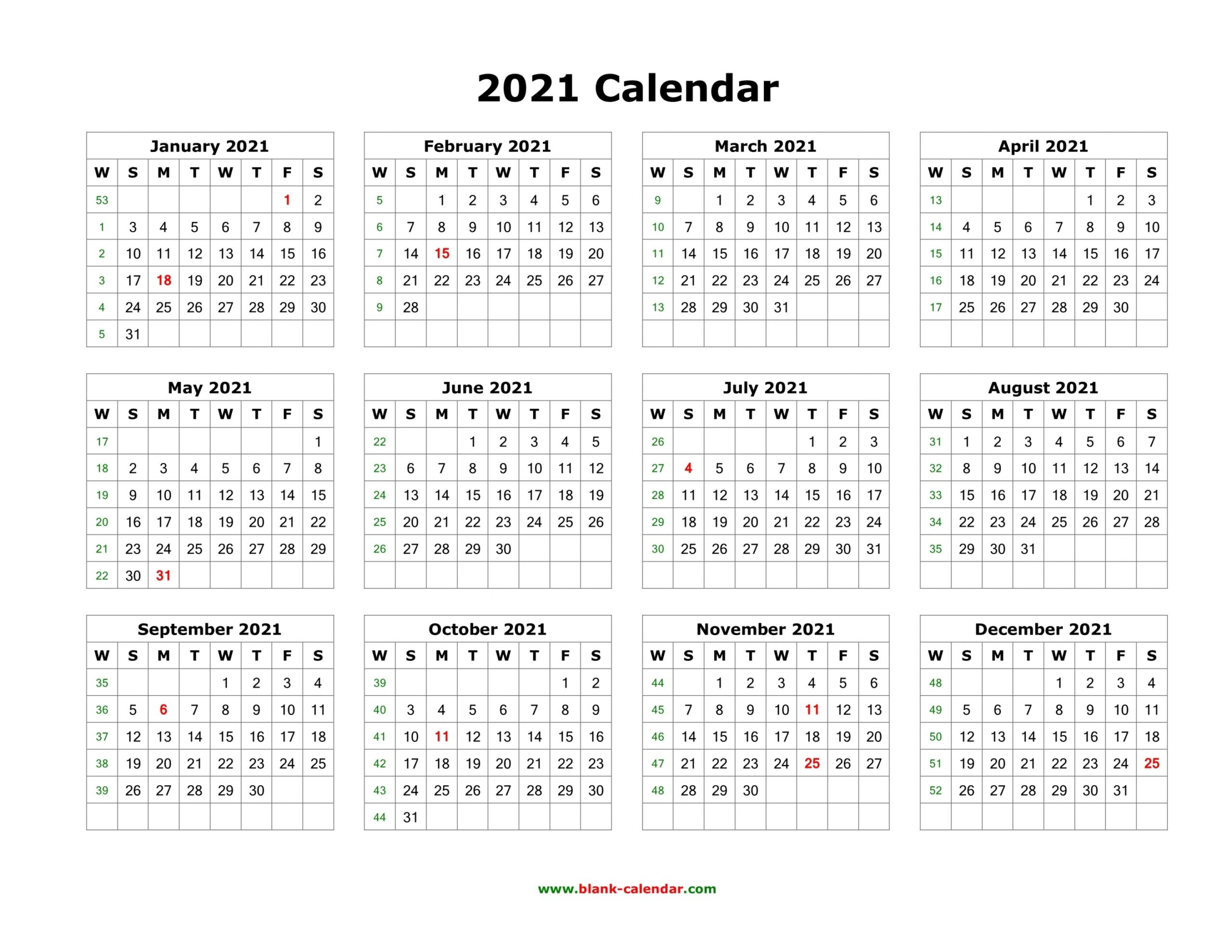 2021 Calendar One Page Template   Free Letter Templates-Calendar Template 2021 Printable Free