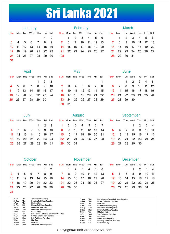 2021 Calendar Poya Day | Printable March-Mercantil Holidays For 2021 Sri Lanka