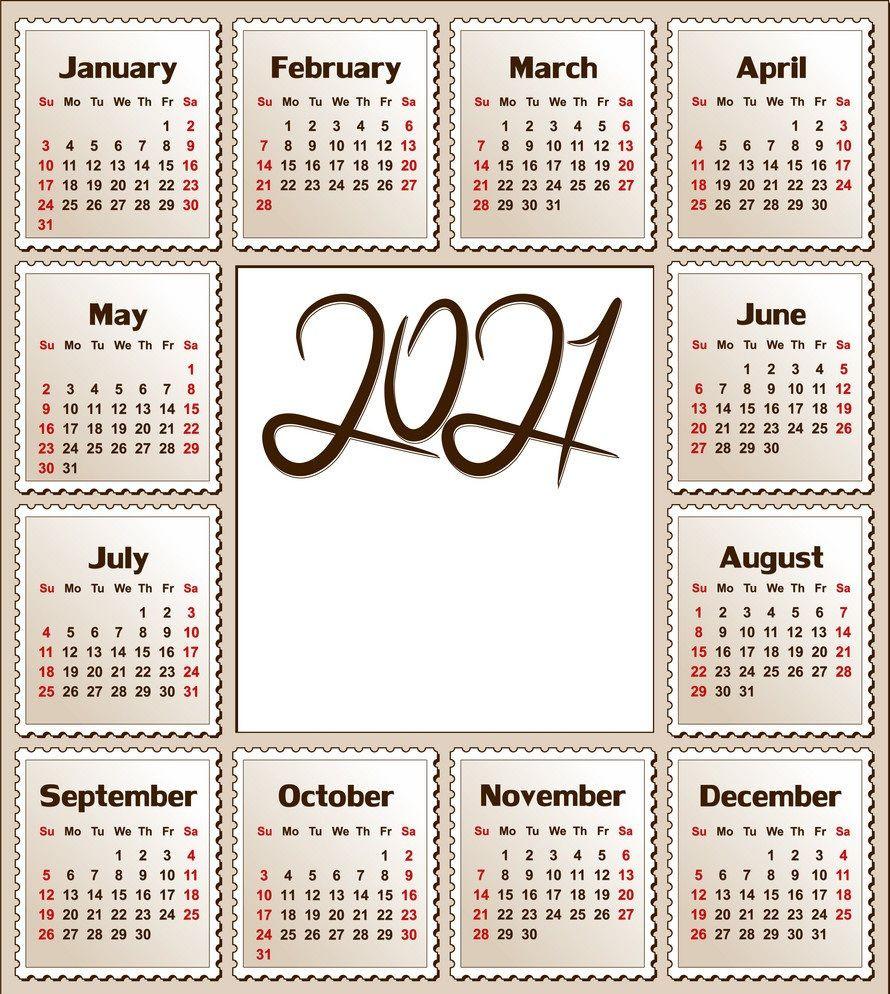 2021 Calendar Printable   12 Months All In One   Calendar 2021-2021 Free 12 Month Printable Monthly Calendar