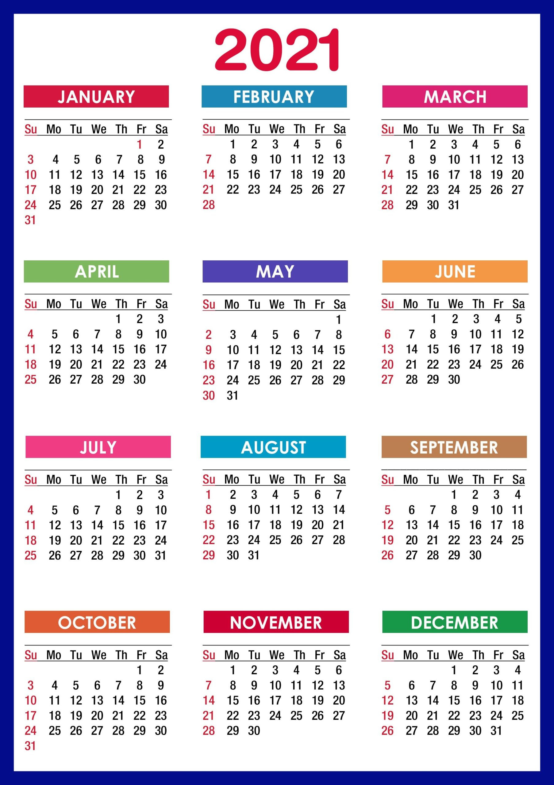 2021 Calendar Printable   12 Months All In One   Calendar 2021-Free Printable Downloadable Yearly Calendar 2021