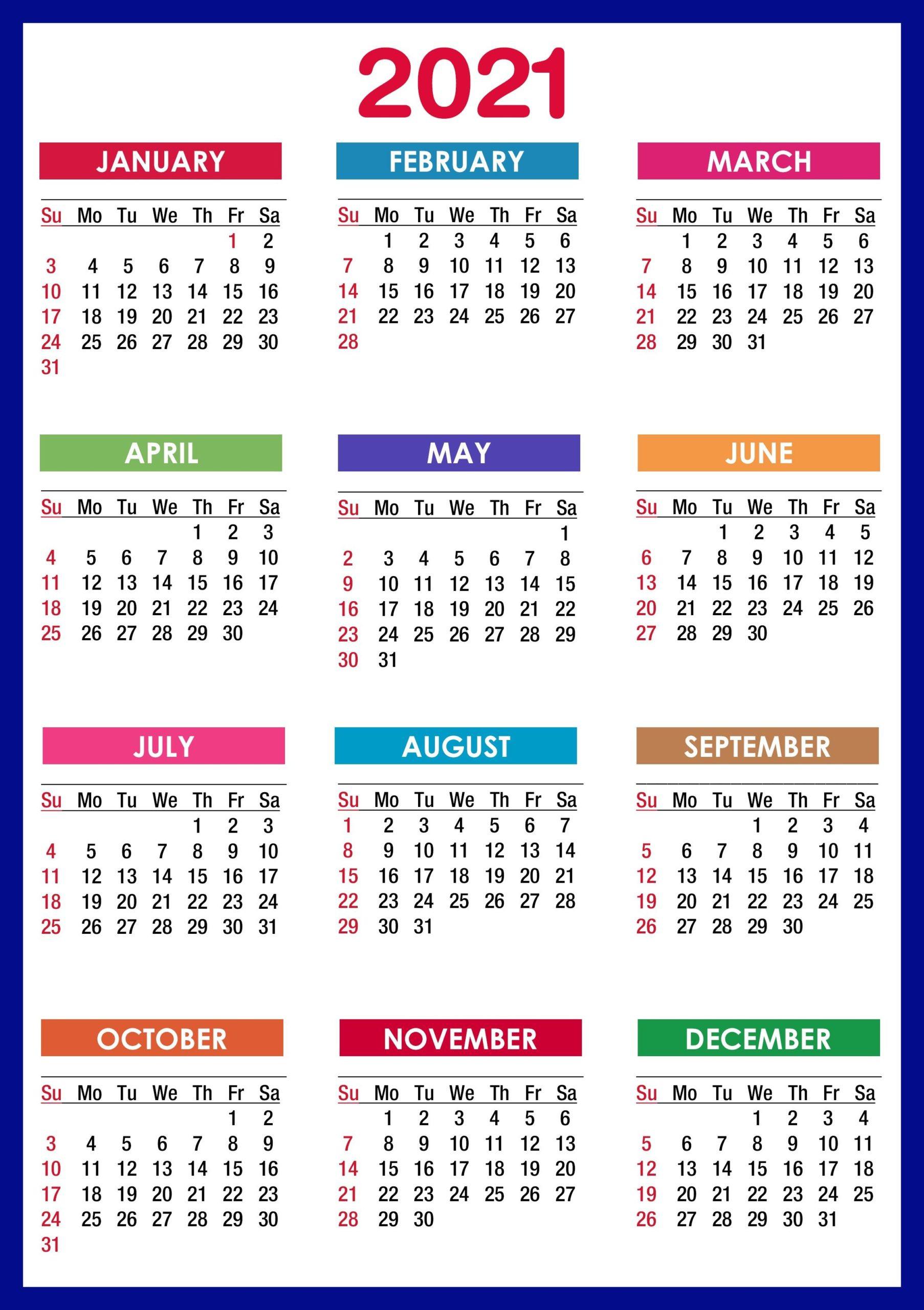 2021 Calendar Printable   12 Months All In One   Calendar 2021-Printable Month To Month Calendar 2021