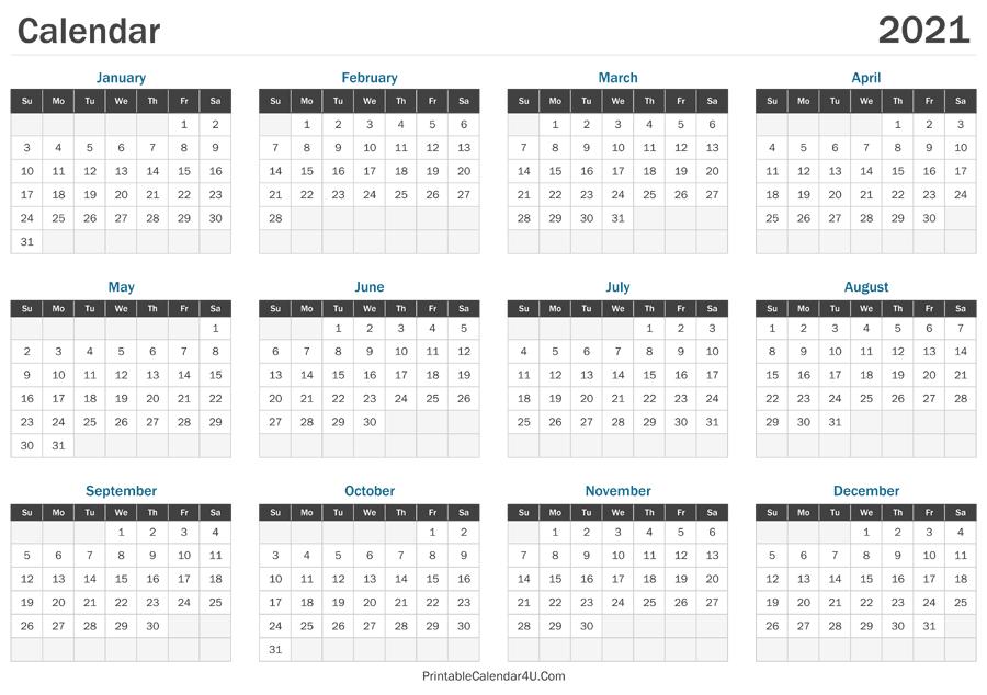 2021 Calendar Printable-2021 Printable 2 Page Monthly Calendar