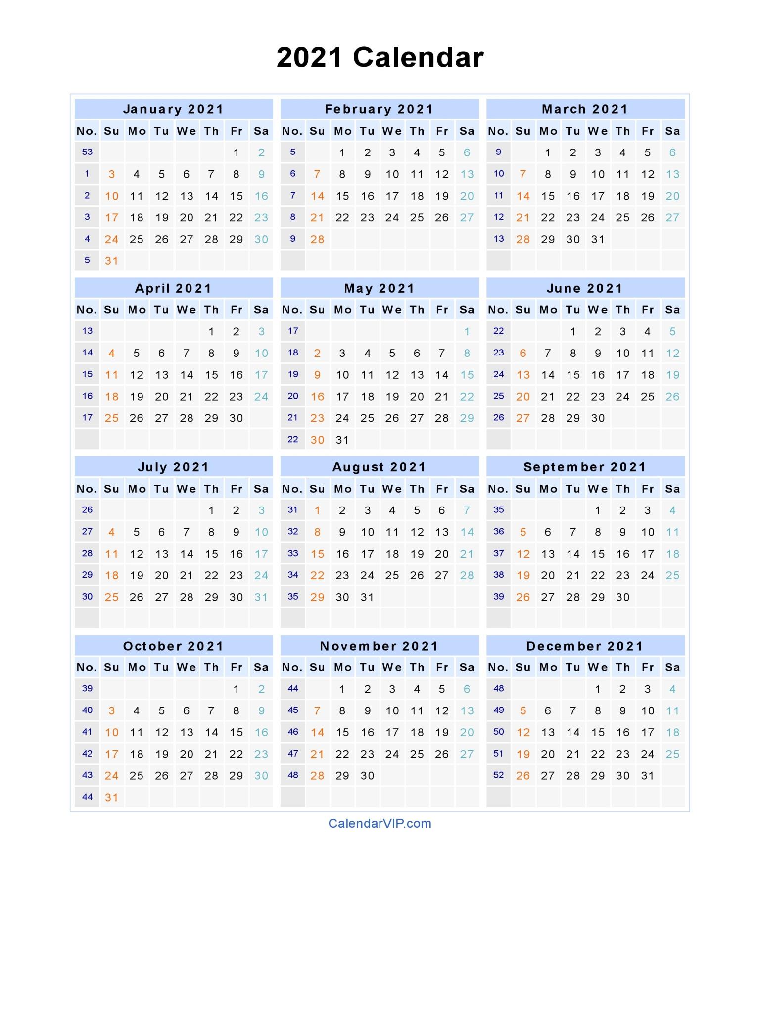 2021 Calendar Printable-Free Printable Downloadable Yearly Calendar 2021