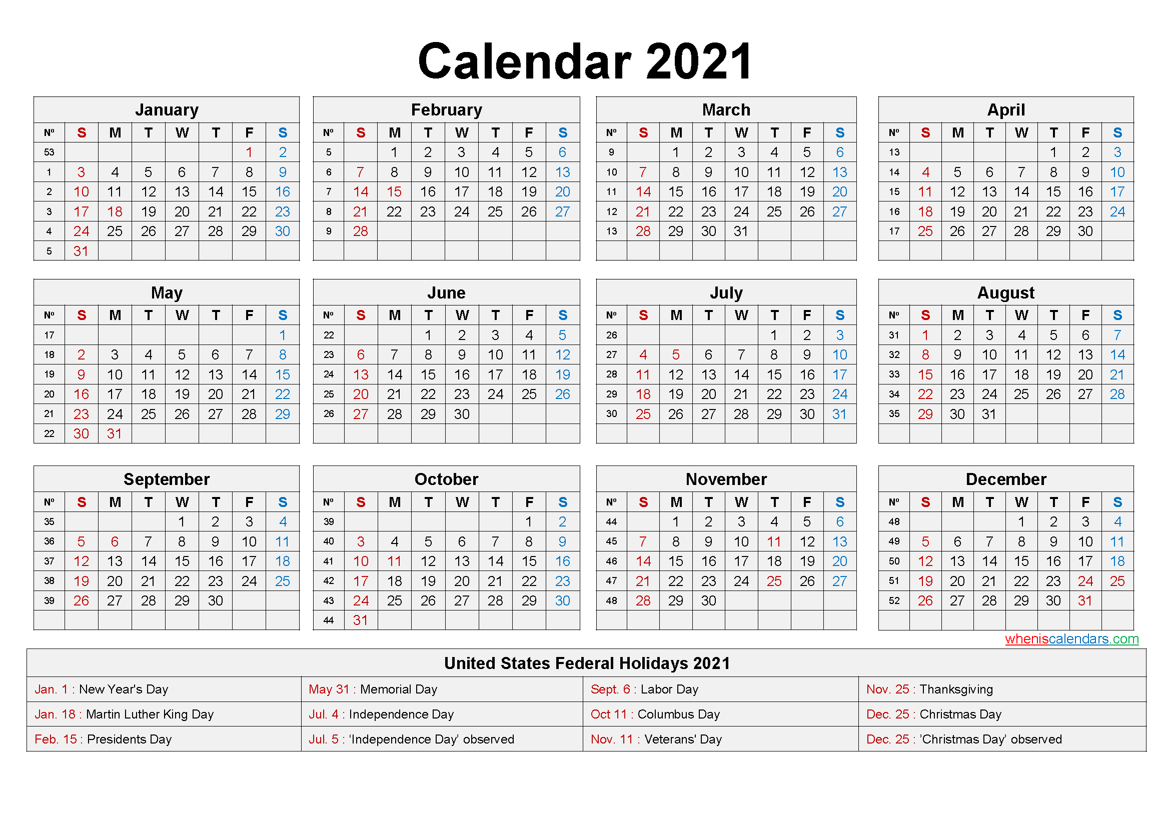 2021 Calendar Printable Pdf-Excel Calendar Template 2021