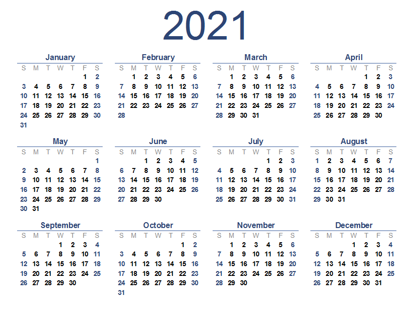 2021 Calendar Printable - Printable Calendar-Free Printable Downloadable Yearly Calendar 2021