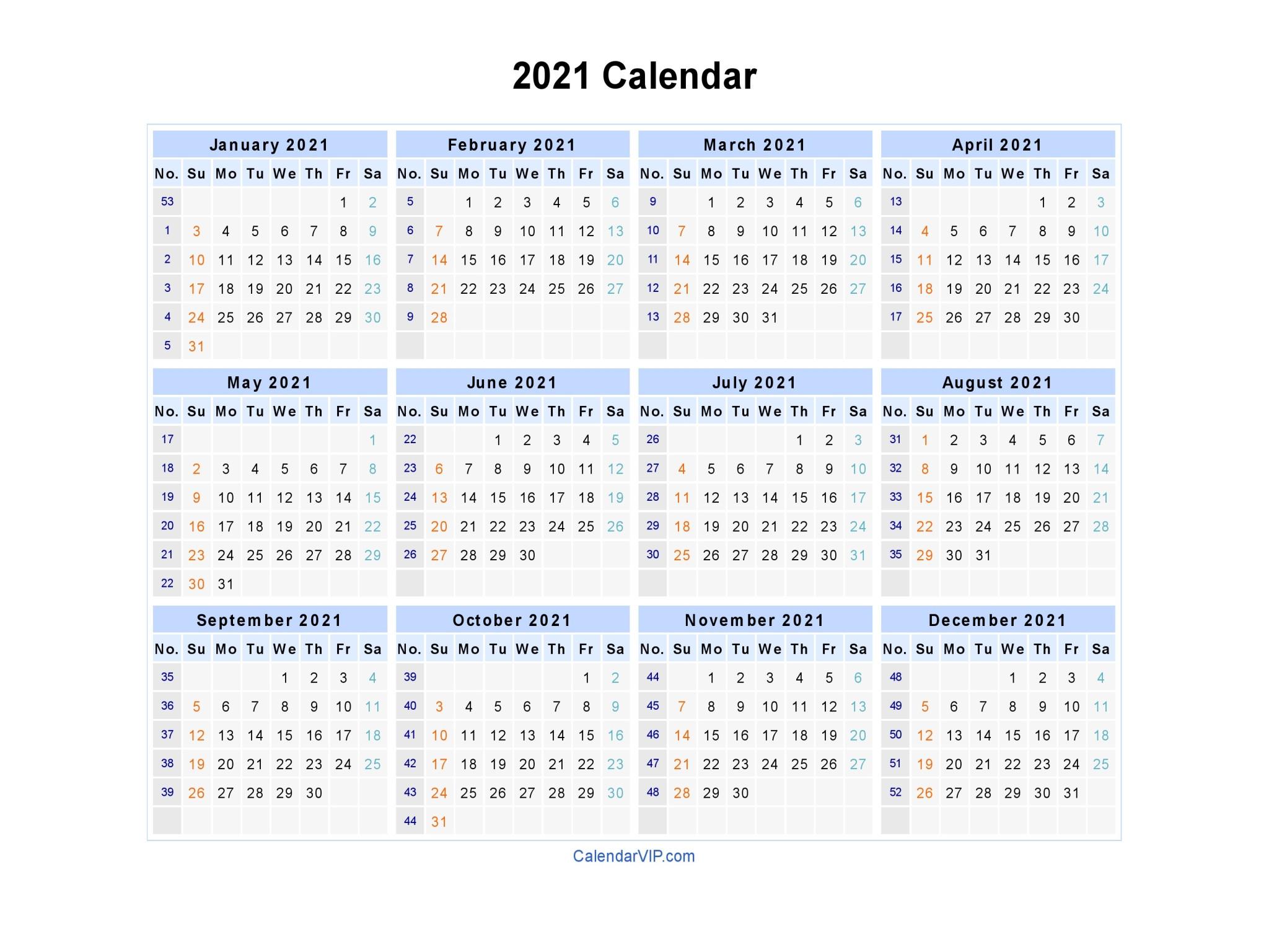 2021 Calendar Printable-Printable Month To Month Calendar 2021