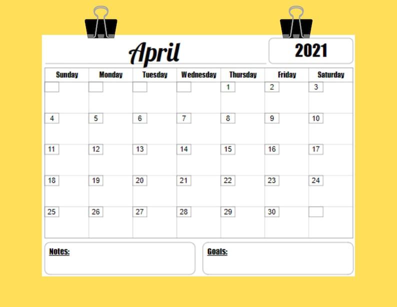 2021 Calendar Printable Template 12 Month 8.5 X 11 Instant-2021 81/2 By 11 Attendance Calendar Template