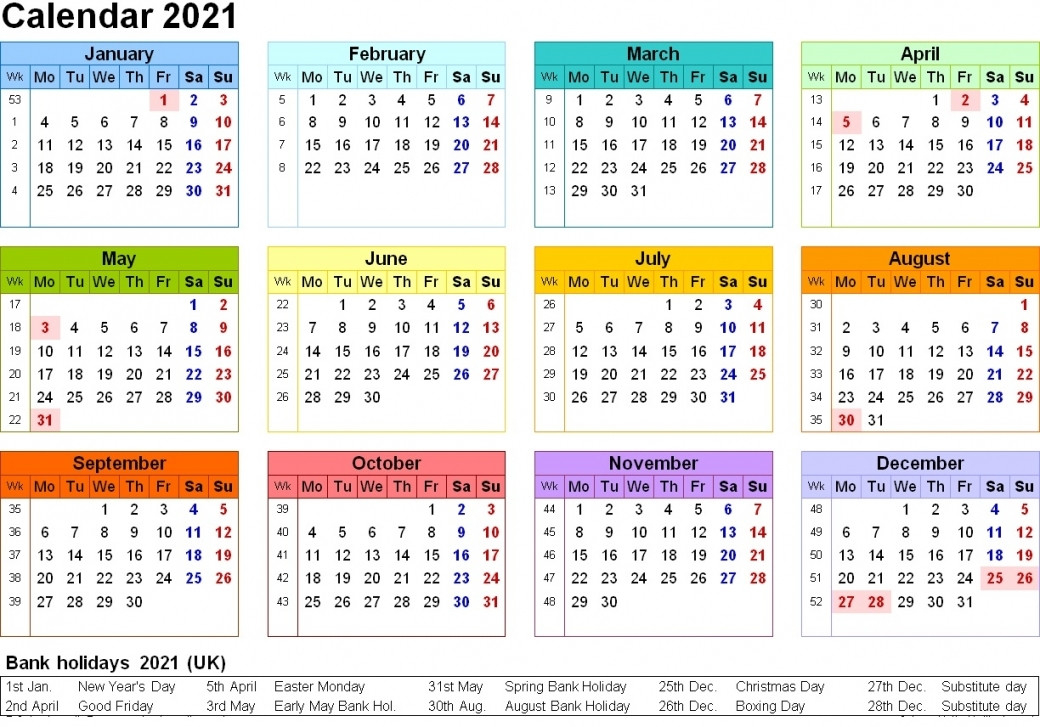2021 Calendar Printable Uk | Free Letter Templates-2021 Printable 2 Page Monthly Calendar