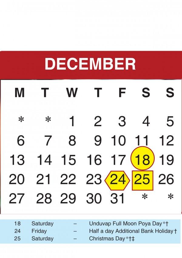 2021 Calendar Sri Lanka With Mercantile Holidays-Mercantile Holidays 2021 Srilanka