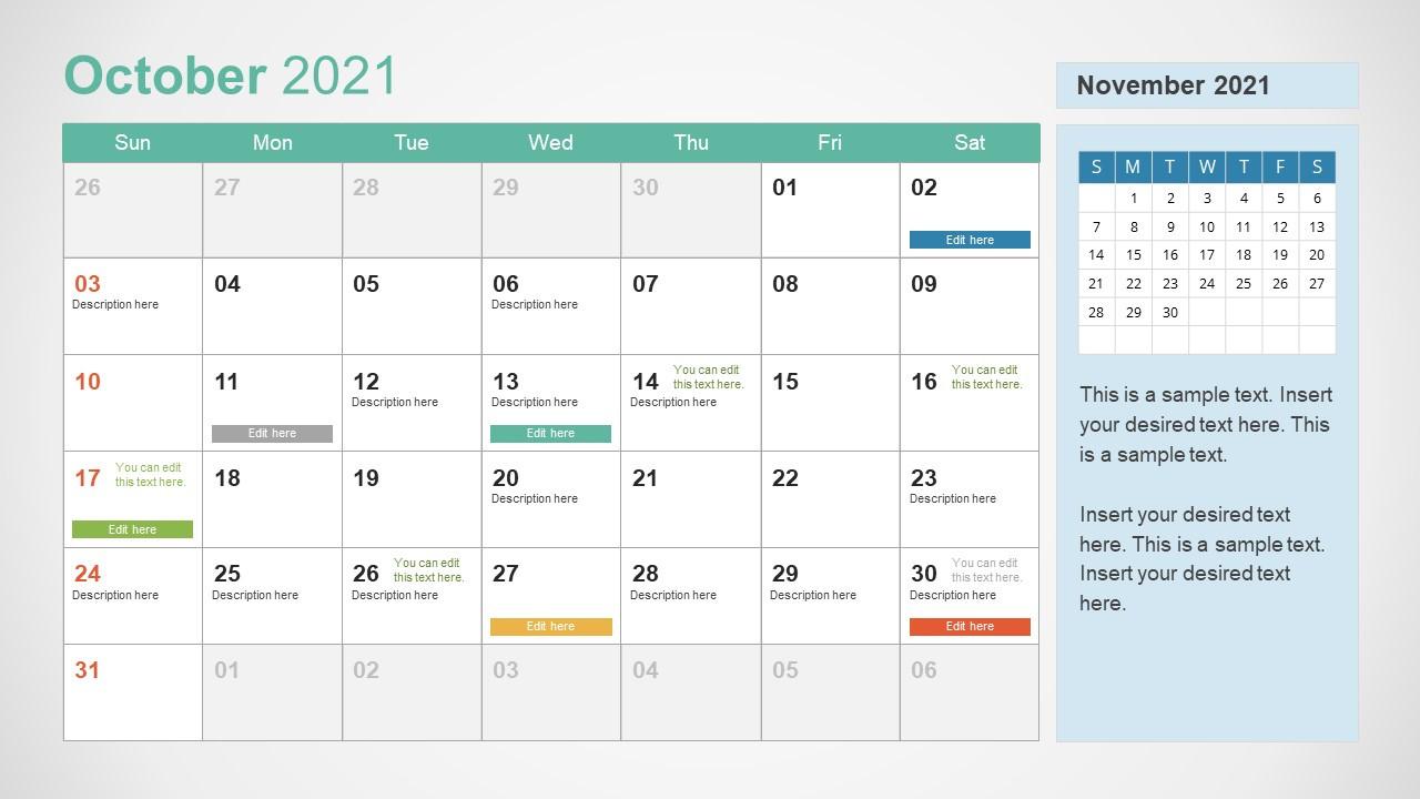 2021 Calendar Template October Powerpoint - Slidemodel-2021 81/2 By 11 Attendance Calendar Template