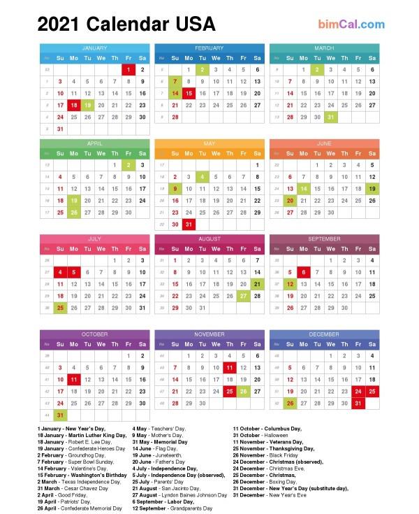 2021 Calendar Usa - Bimcal-2021 Calendard For Vacation Schedule