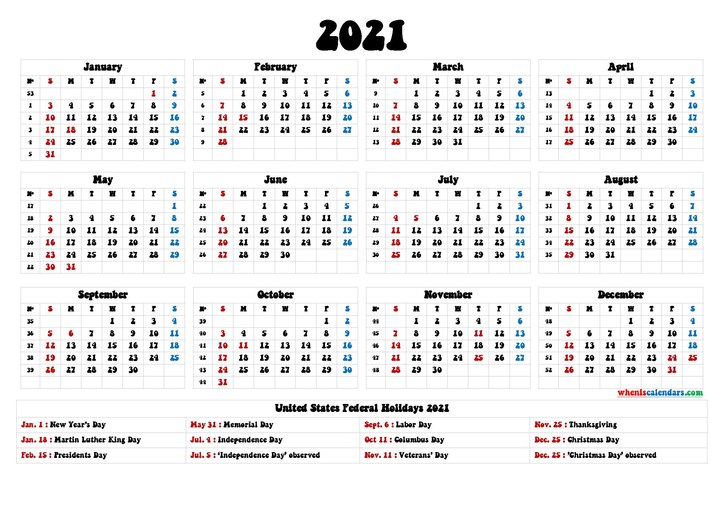 2021 Calendar With Holidays Printable - 6 Templates   Free-4 X 6 Calendars 2021