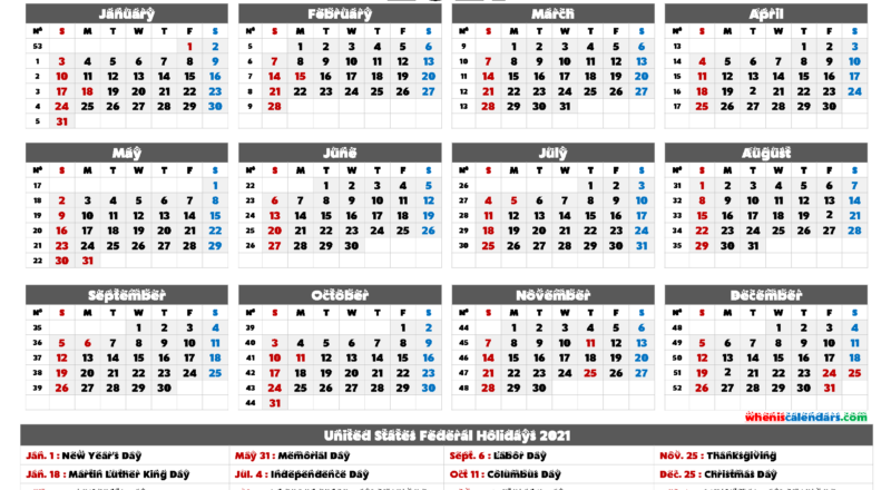 2021 Calendar With Holidays Printable - 6 Templates | Free-4 X 6 Calendars 2021