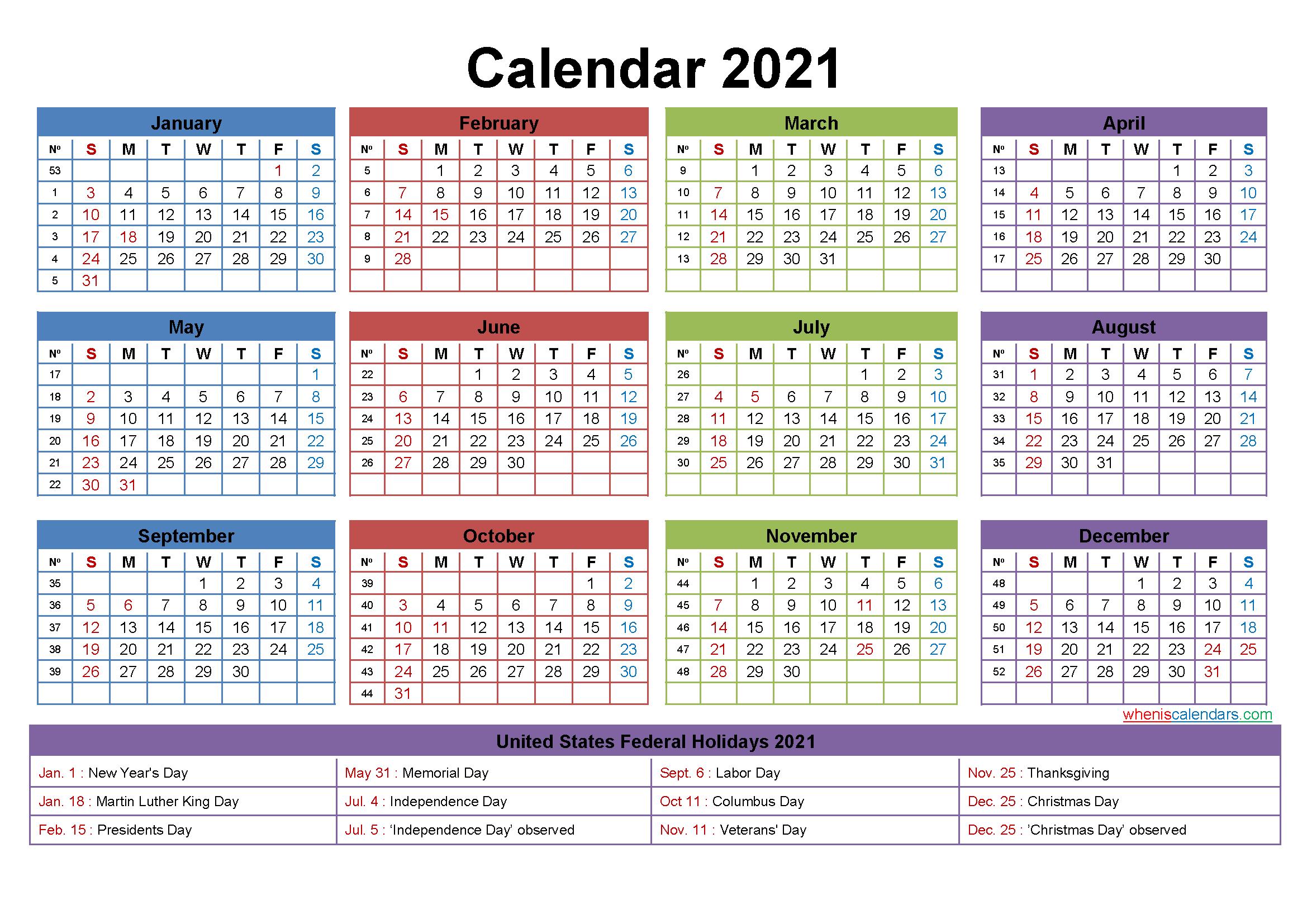 2021 Calendar With Holidays Printable Word, Pdf-2021 Calendar For Vacation