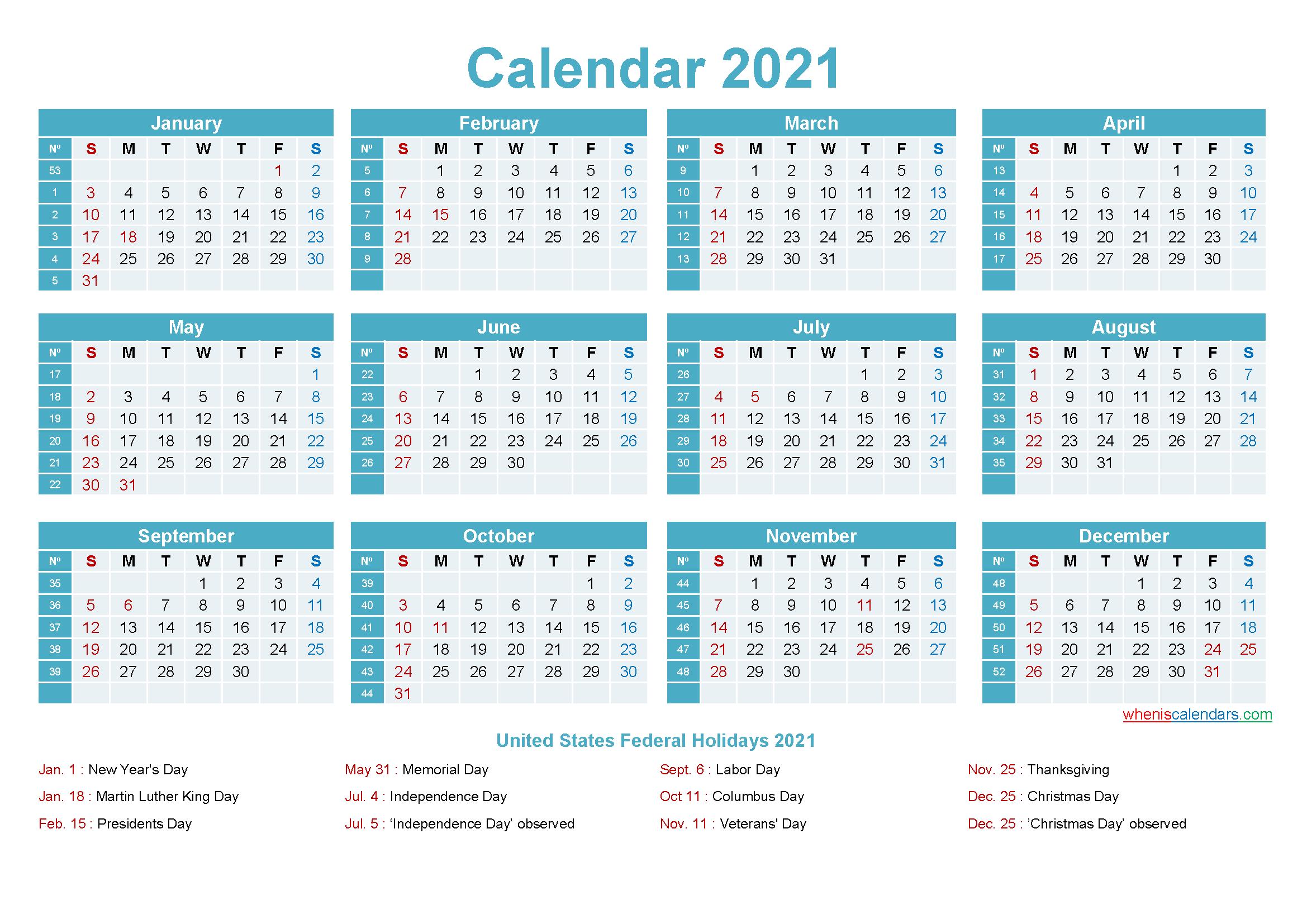 2021 Calendar With Holidays Printable Word, Pdf - Free-Microsoft Word Calendar Template 2021
