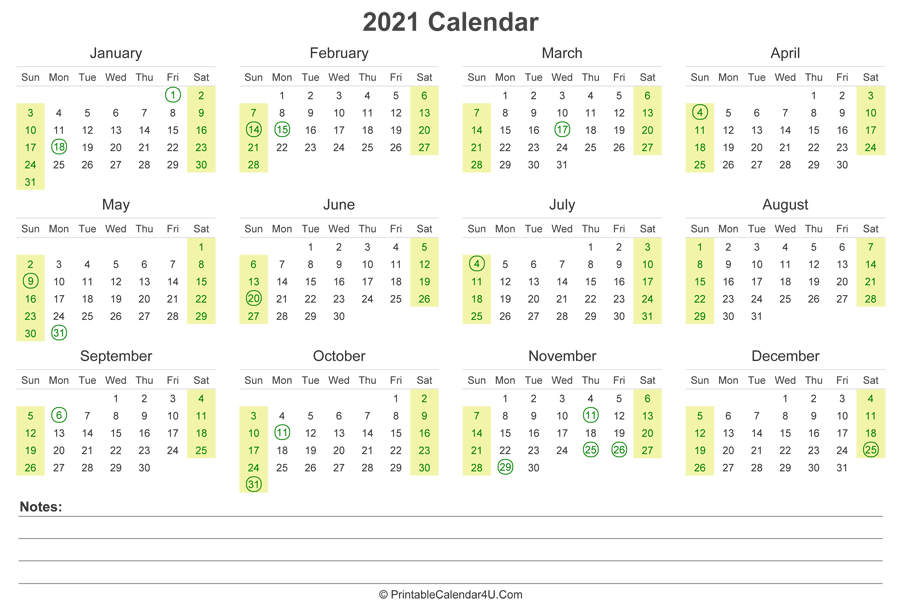 2021 Calendar With Us Holidays And Notes (Landscape Layout)-4 X 6 Calendars 2021