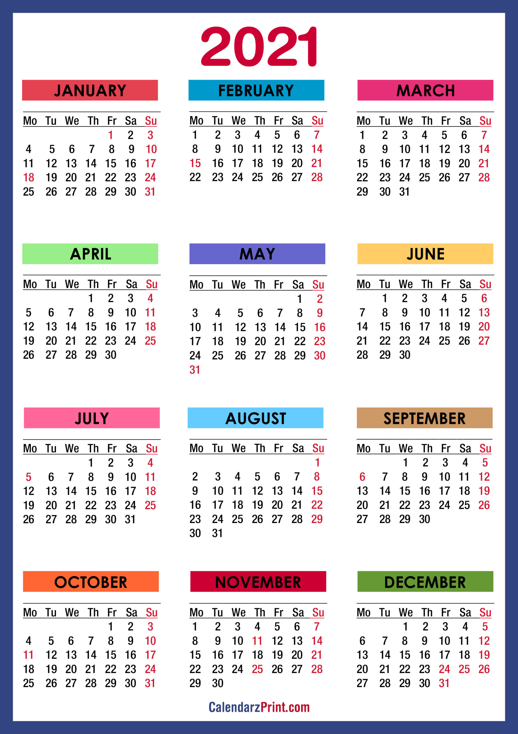 2021 Calendar With Us Holidays Printable Pdf   2021-2021 Monthly Calendar Printable Pdf